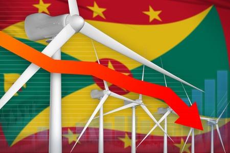 Grenada wind energy power lowering chart, arrow down  - alternative energy industrial illustration. 3D Illustration