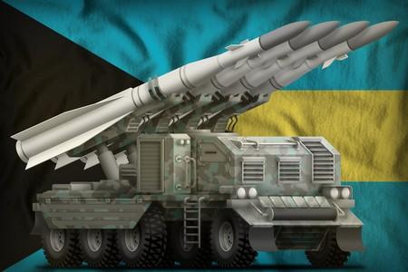 tactical short range ballistic missile with arctic camouflage on the Bahamas flag background. 3d Illustration