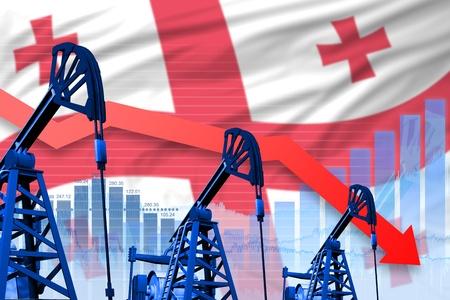 Georgia oil industry concept, industrial illustration - lowering, falling graph on Georgia flag background. 3D Illustration Stok Fotoğraf
