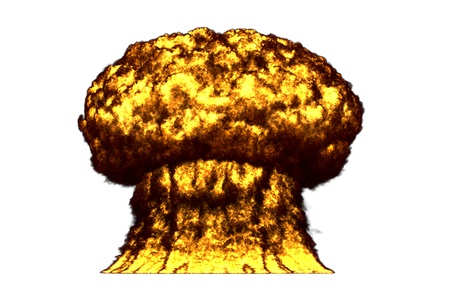huge very high detailed mushroom cloud explosion with smoke and fire like from nuke bomb or any other big explosives isolated on white - blast 3D illustration