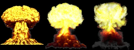 3 large high detailed different phases mushroom cloud explosion of nuclear bomb with smoke and fire isolated on black - 3D illustration of explosion