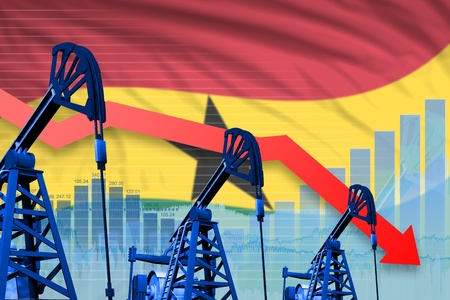 Ghana oil industry concept, industrial illustration - lowering, falling graph on Ghana flag background. 3D Illustration