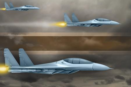 Botswana air strike concept. Modern war airplanes attack on Botswana flag background. 3d Illustration Фото со стока