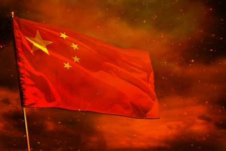 Fluttering China flag on crimson red sky with smoke pillars background. China problems concept. Stock fotó