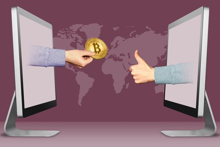 computer concept, hands from monitors. hand with bitcoin and thumbs up, like . 3d illustration Stock Photo