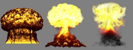 3 huge high detailed different phases mushroom cloud explosion of super bomb with smoke and fire isolated on grey - 3D illustration of explosion