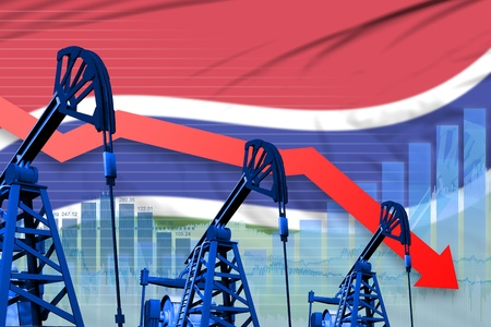 Gambia oil industry concept, industrial illustration - lowering, falling graph on Gambia flag background. 3D Illustration