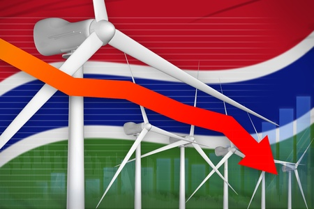 Gambia wind energy power lowering chart, arrow down  - renewable energy industrial illustration. 3D Illustration