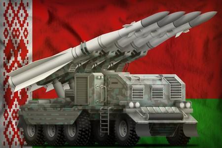 tactical short range ballistic missile with arctic camouflage on the Belarus flag background. 3d Illustration