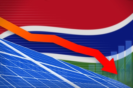 Gambia solar energy power lowering chart, arrow down  - green energy industrial illustration. 3D Illustration