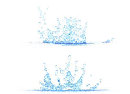 two side views of cool water splash - 3D illustration, mockup isolated on white - creative illustration