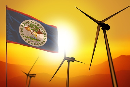Belize wind energy, alternative energy environment concept with turbines and flag on sunset - alternative renewable energy - industrial illustration, 3D illustration