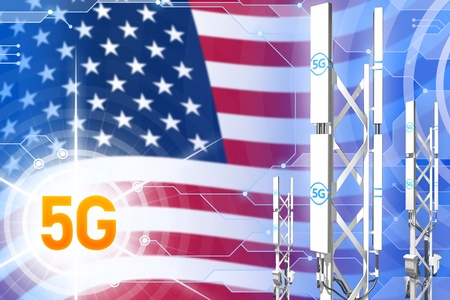 USA 5G network industrial illustration, large cellular tower or mast on modern background with the flag - 3D Illustration