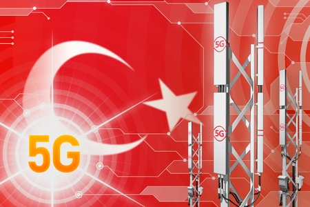 Turkey 5G network industrial illustration, huge cellular tower or mast on modern background with the flag - 3D Illustration
