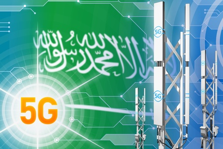 Saudi Arabia 5G network industrial illustration, large cellular tower or mast on modern background with the flag - 3D Illustration 写真素材