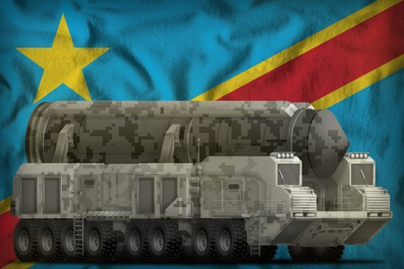 intercontinental ballistic missile with city camouflage on the Democratic Republic of Congo flag background. 3d Illustration Stock Photo