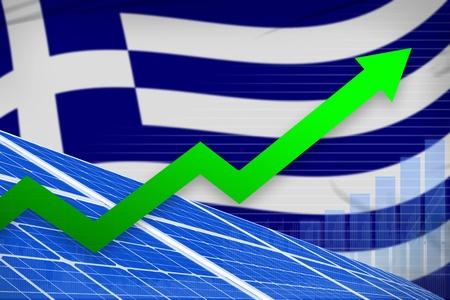 Greece solar energy power rising chart, arrow up  - alternative energy industrial illustration. 3D Illustration 写真素材