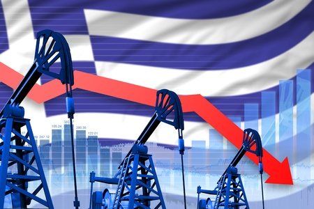 Greece oil industry concept, industrial illustration - lowering, falling graph on Greece flag background. 3D Illustration