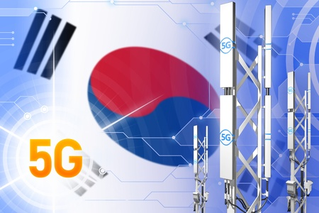 Republic of Korea (South Korea) 5G network industrial illustration, huge cellular tower or mast on digital background with the flag - 3D Illustration Stok Fotoğraf