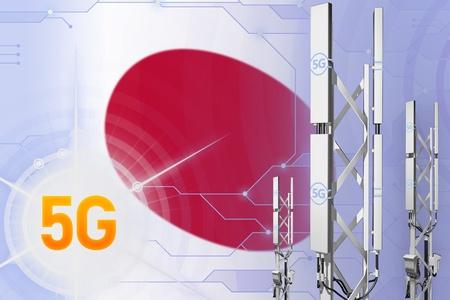 Japan 5G network industrial illustration, large cellular tower or mast on digital background with the flag - 3D Illustration Stock Photo