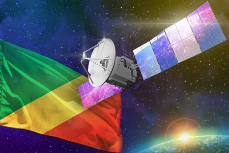 Satellite with Congo flag, space communications technology concept - 3D Illustration