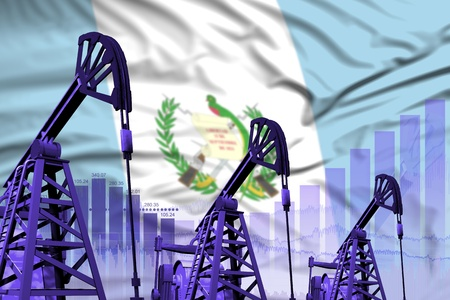 Guatemala oil and petrol industry concept, industrial illustration on Guatemala flag background. 3D Illustration Stock Photo