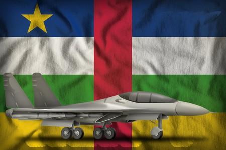 fighter, interceptor on the Central African Republic flag background. 3d Illustration