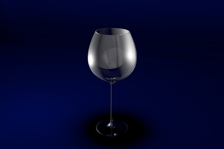 red wine glass on dark blue design background - drinking glass render, 3D illustration