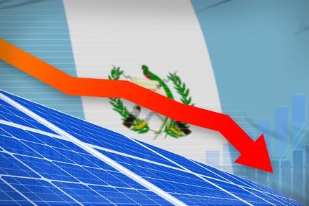 Guatemala solar energy power lowering chart, arrow down  - alternative energy industrial illustration. 3D Illustration