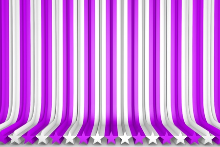 geometric surfaces formed with extruded star shape, veterans day or new year concept - beautiful pink 3D Illustration of abstract background Stock Photo