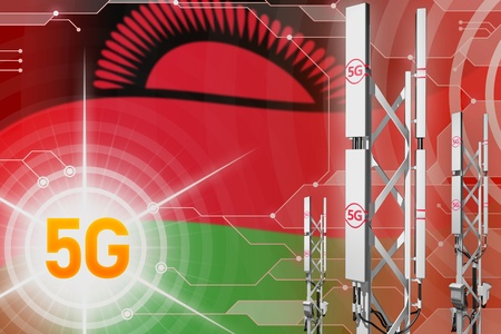 Malawi 5G network industrial illustration, big cellular tower or mast on digital background with the flag - 3D Illustration Stockfoto - 119254126