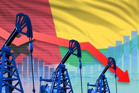 Guinea-Bissau oil industry concept, industrial illustration - lowering, falling graph on Guinea-Bissau flag background. 3D Illustration