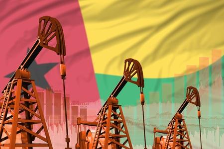 Guinea-Bissau oil and petrol industry concept, industrial illustration on Guinea-Bissau flag background. 3D Illustration Stock Photo