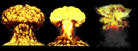 3 huge very highly detailed different phases mushroom cloud explosion of atom bomb with smoke and fire isolated on black - 3D illustration of explosion