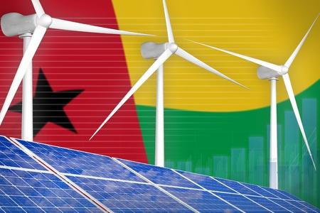 Guinea-Bissau solar and wind energy digital graph concept  - environmental energy industrial illustration. 3D Illustration