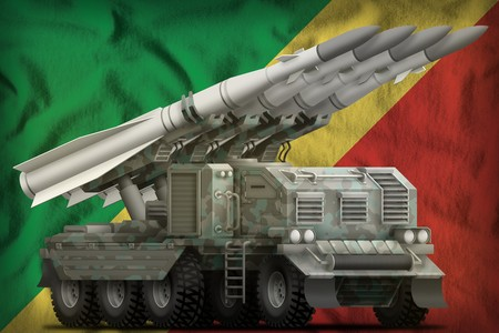 tactical short range ballistic missile with arctic camouflage on the Congo flag background. 3d Illustration
