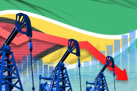 Guyana oil industry concept, industrial illustration - lowering, falling graph on Guyana flag background. 3D Illustration Stok Fotoğraf