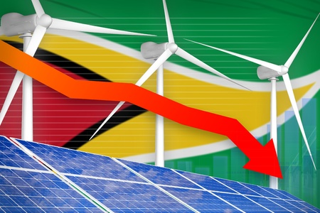 Guyana solar and wind energy lowering chart, arrow down  - alternative energy industrial illustration. 3D Illustration
