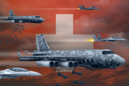 Switzerland bomb air strike concept. Modern Switzerland war airplanes bombing on flag background. 3d Illustration