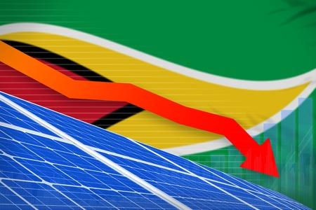 Guyana solar energy power lowering chart, arrow down  - alternative energy industrial illustration. 3D Illustration Stok Fotoğraf