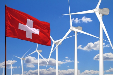 Switzerland alternative energy, wind energy industrial concept with windmills and flag - alternative renewable energy industrial illustration, 3D illustration