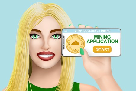 Concept application for cryptocurrency mining. Smiling beautiful drawn girl on bright background. Digital illustration