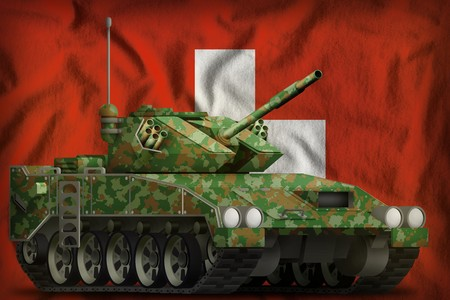 light tank apc with summer camouflage on the Switzerland flag background. 3d Illustration Reklamní fotografie