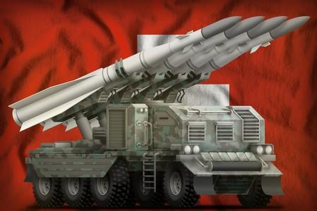 tactical short range ballistic missile with arctic camouflage on the Switzerland flag background. 3d Illustration
