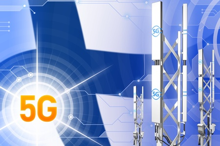 Finland 5G network industrial illustration, big cellular tower or mast on digital background with the flag - 3D Illustration
