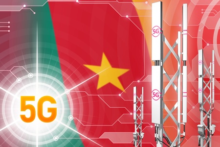 Cameroon 5G network industrial illustration, large cellular tower or mast on modern background with the flag - 3D Illustration