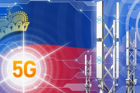 Liechtenstein 5G network industrial illustration, huge cellular tower or mast on modern background with the flag - 3D Illustration Stock Photo
