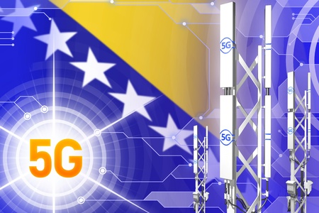Bosnia and Herzegovina 5G network industrial illustration, large cellular tower or mast on digital background with the flag - 3D Illustration Stockfoto - 120247670