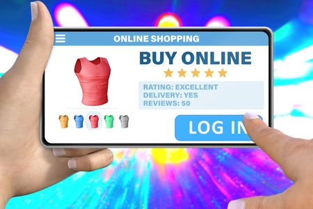 online shopping technology concept - hand with smartphone tapping the button log in on neon city lights background