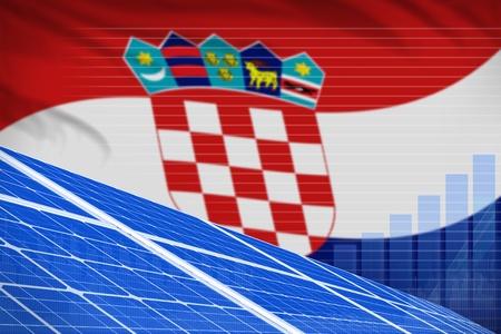 Croatia solar energy power digital graph concept  - modern energy industrial illustration. 3D Illustration Stock Photo